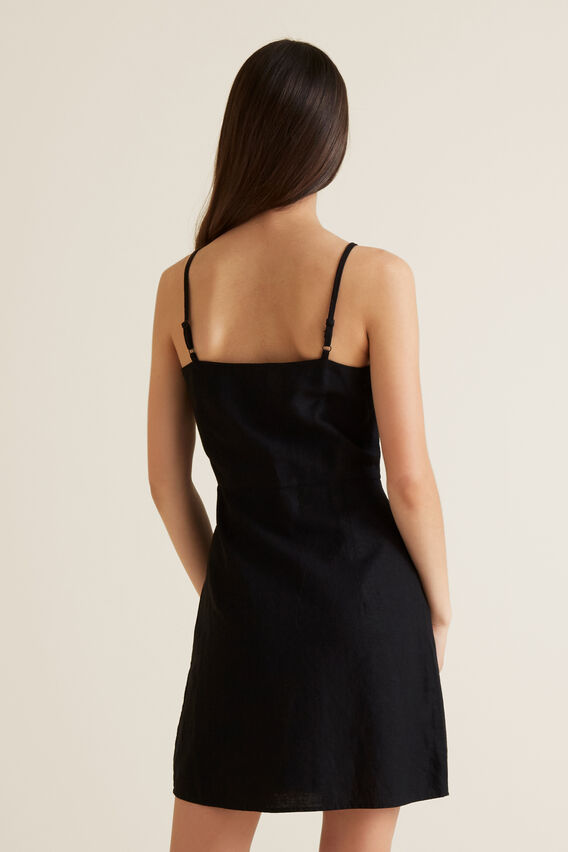Linen Blend Dress  BLACK  hi-res