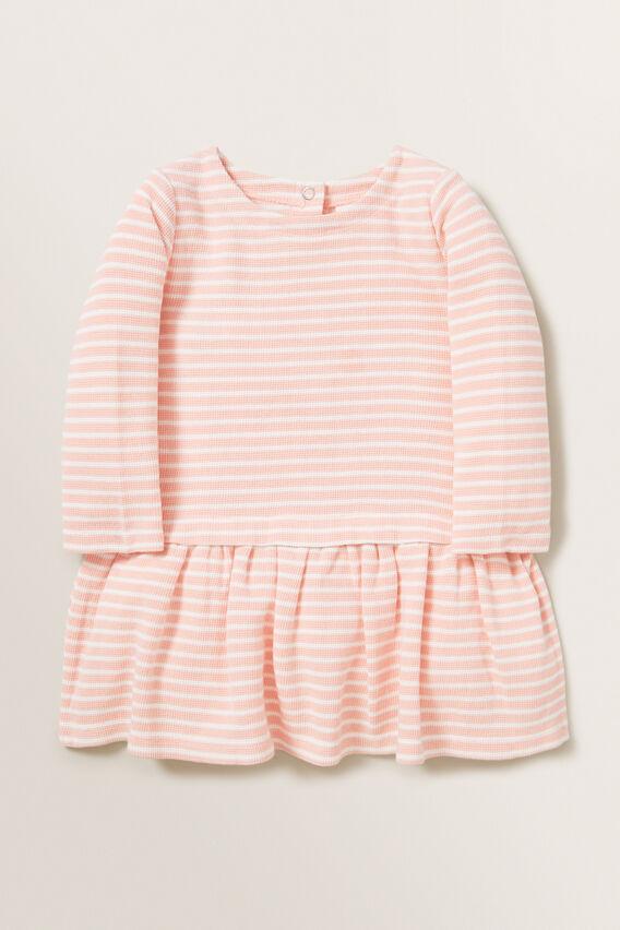 Waffle Stripe Dress  DUSTY ROSE  hi-res
