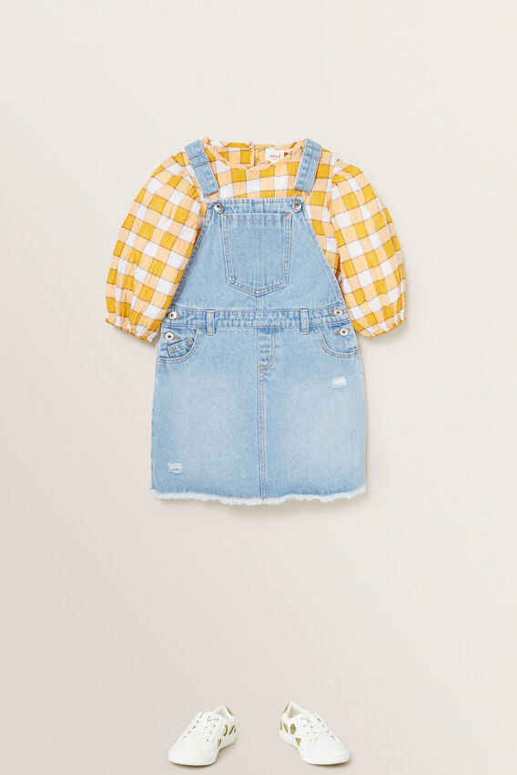 Distressed Denim Pinafore  CLASSIC BLUE  hi-res
