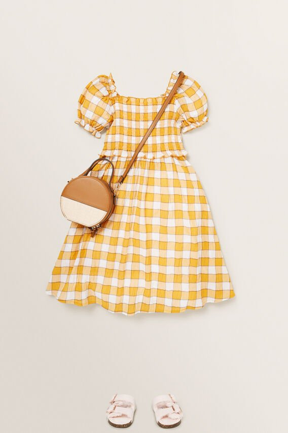 Check Dress  OCHRE  hi-res