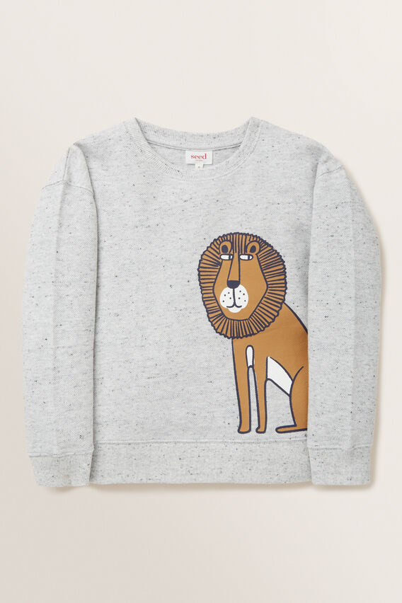 Lion Print Sweater  CLOUDY MARLE  hi-res