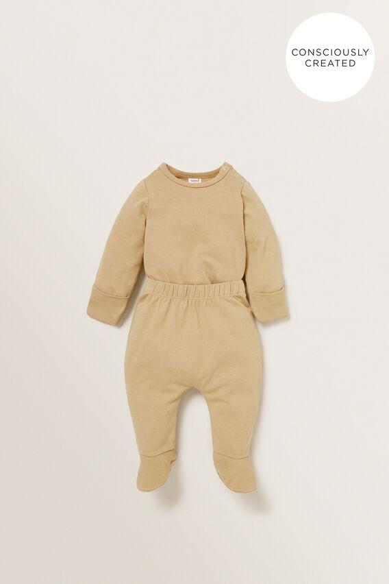 Organic Mitten Bodysuit  WHEAT  hi-res