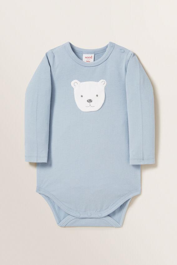 Bear Applique Bodysuit  RAIN  hi-res