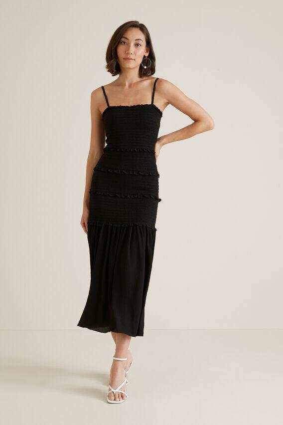 Shirred Maxi Dress  BLACK  hi-res