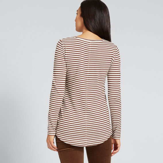 Front Seam Long Sleeve Top  BURNT TOFFEE STRIPE  hi-res