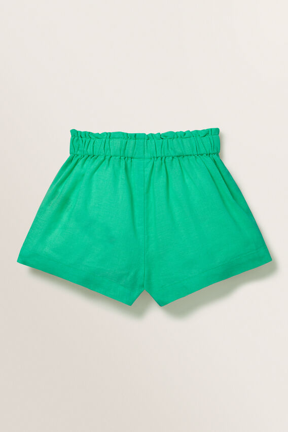 Linen Shorts  APPLE GREEN  hi-res