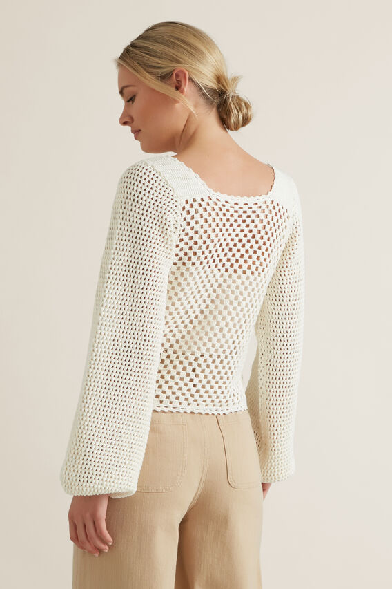 Crotchet Sweater  CLOUD CREAM  hi-res