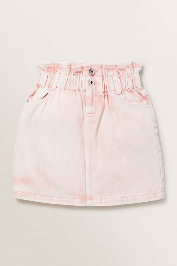 Paperbag Denim Skirt  ROSE ACID WASH  hi-res