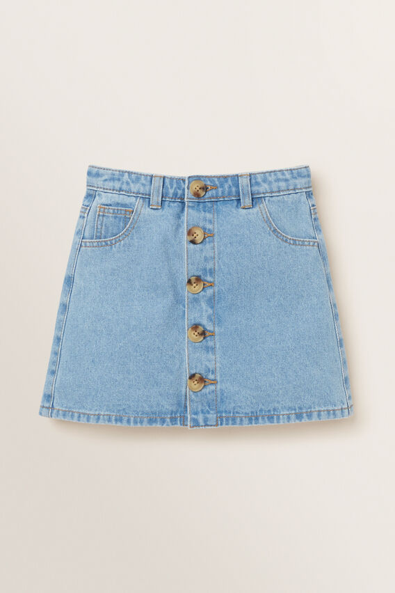 Button Denim Skirt  CLASSIC BLUE  hi-res