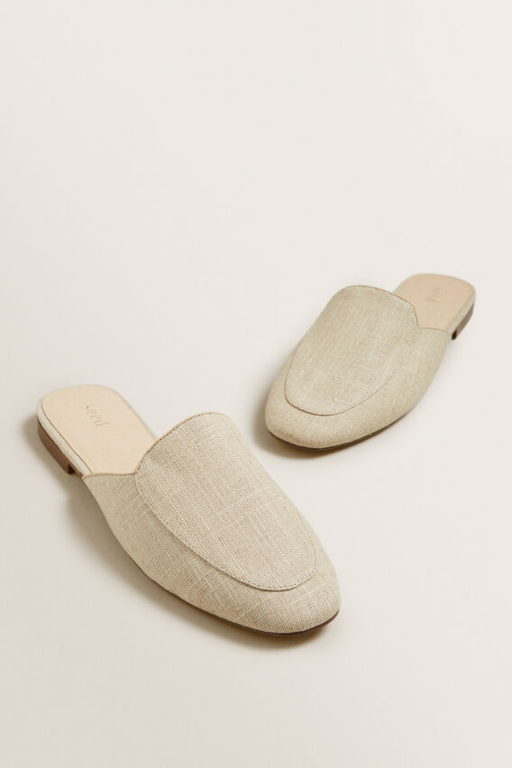 Linen Open Back Mule  NATURAL  hi-res