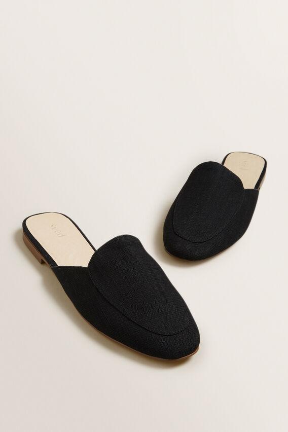 Linen Open Back Mule  BLACK  hi-res
