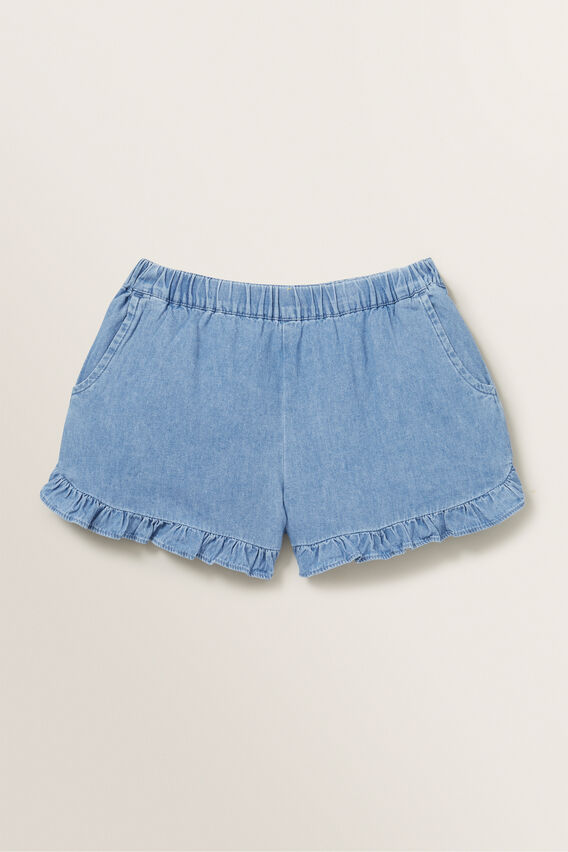 Chambray Frill Short  ICE BLUE WASH  hi-res