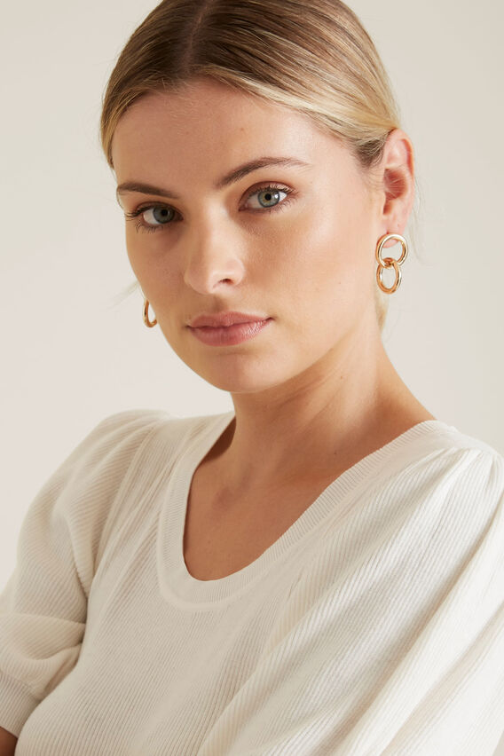 Circle Linked Earrings  GOLD  hi-res
