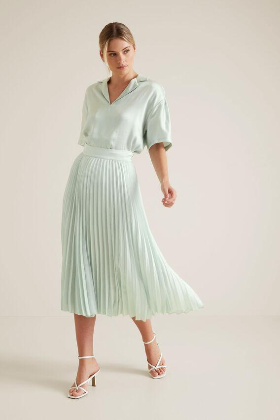 Textured Pleat Skirt  PALE SPEARMINT  hi-res