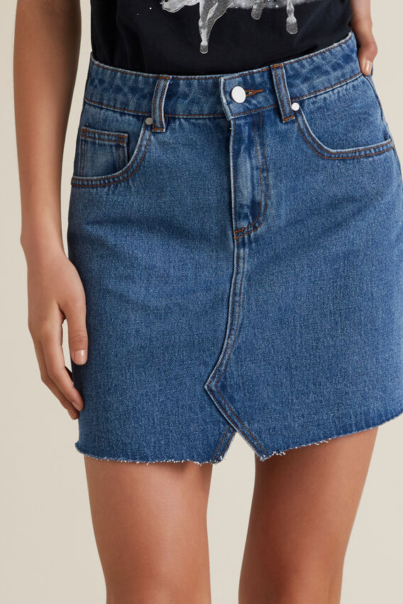 Reworked Denim Skirt  MID INDIGO  hi-res