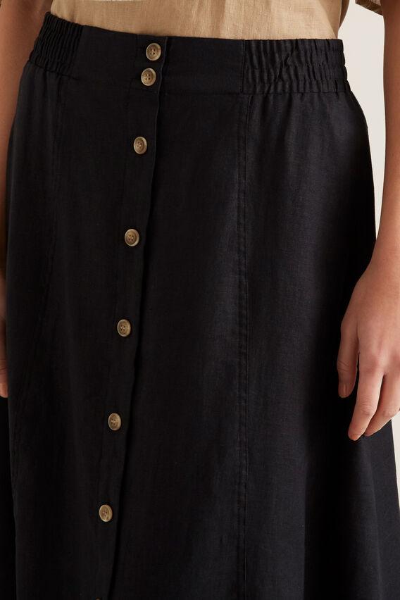 Linen Flowing Skirt  BLACK  hi-res
