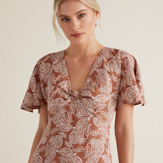 OCT KNOT DETAIL TIER DRESS  WASHED APRICOT PAISL  hi-res