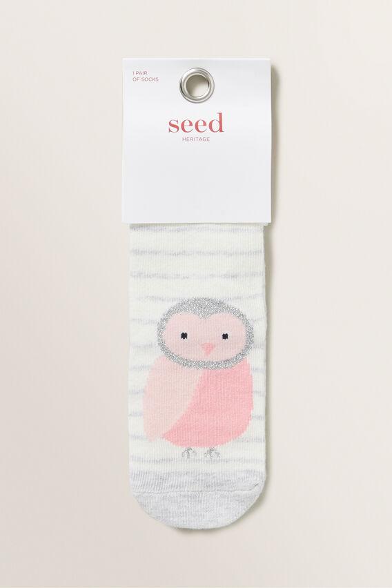 Owl Socks  GREY MARLE  hi-res