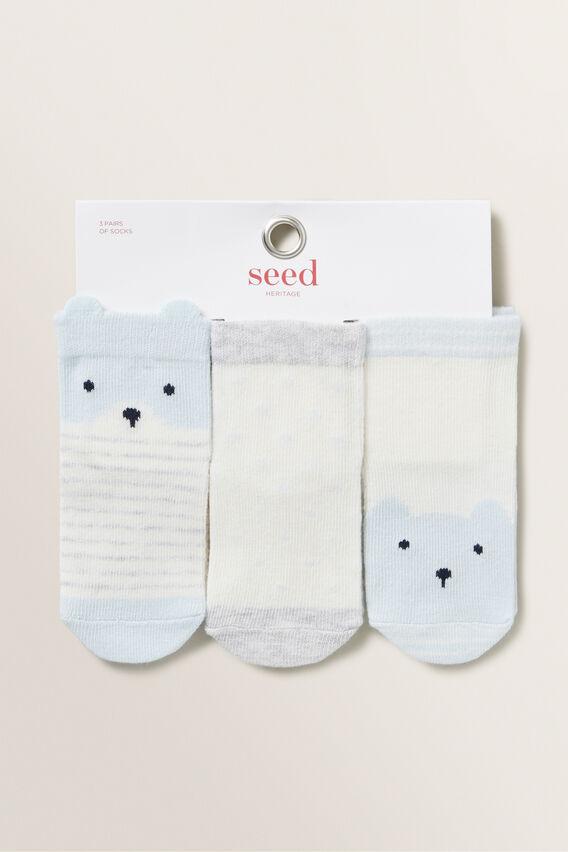 3 Pack Bear Socks  BLUE  hi-res