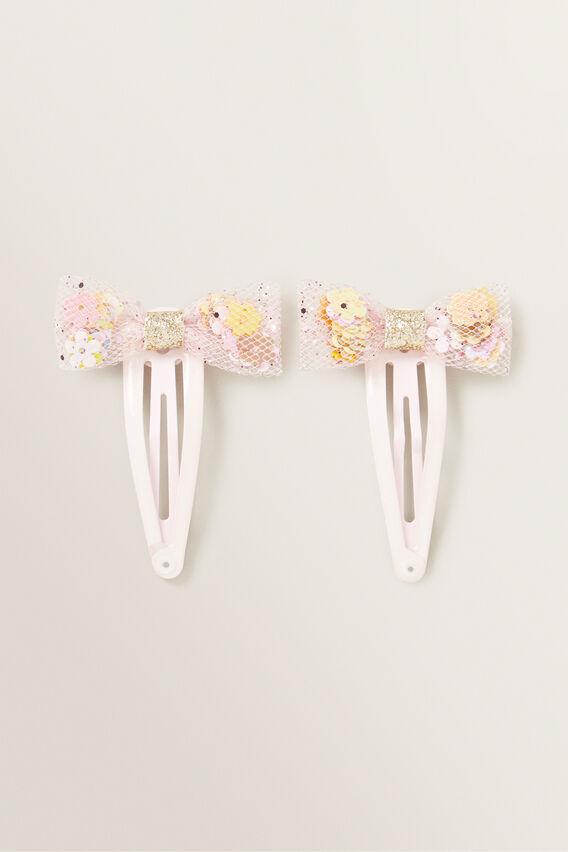 Flower Frilled Bow Snap  PINK  hi-res