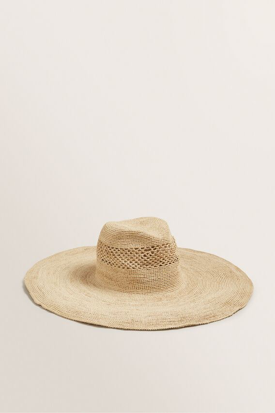 Wide Brim Fedora  NATURAL  hi-res