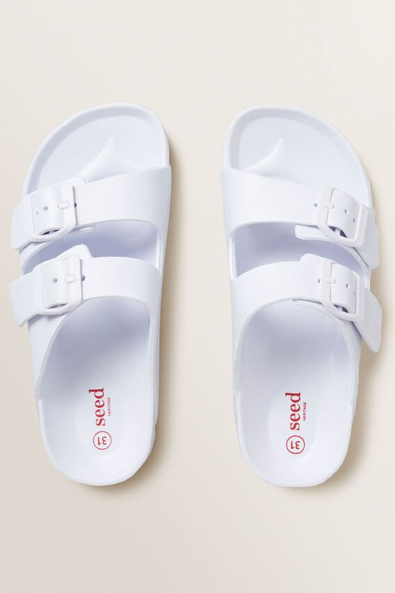 Double Buckle Slides  WHITE  hi-res