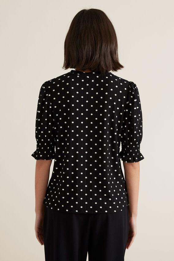 Shirred Sleeve Top  BLACK/WHITE SPOT  hi-res