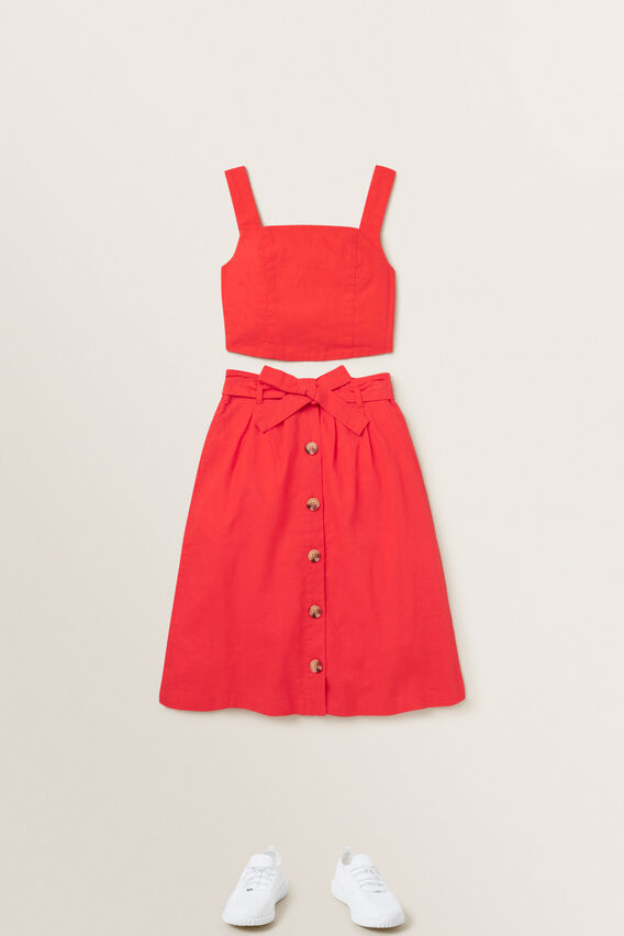 Linen Cropped Top  APPLE RED  hi-res