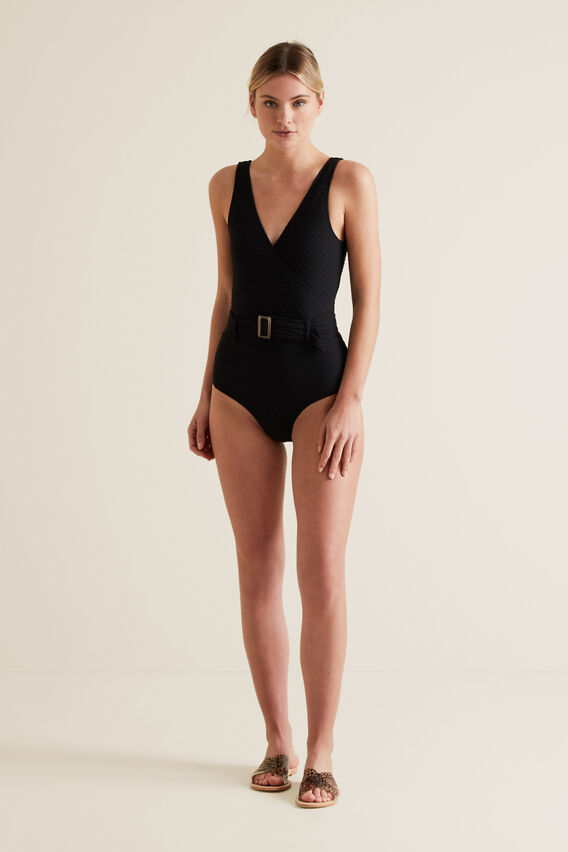 Textured Wrap One Piece  BLACK  hi-res