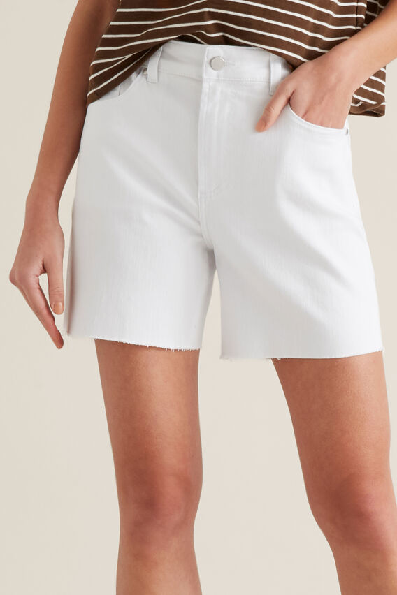 Frayed Denim Short  WHITE  hi-res