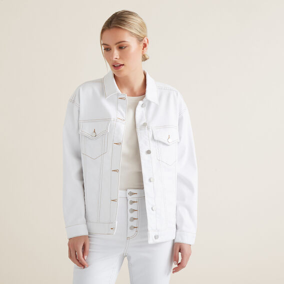 Oversized Denim Jacket  WHITE  hi-res