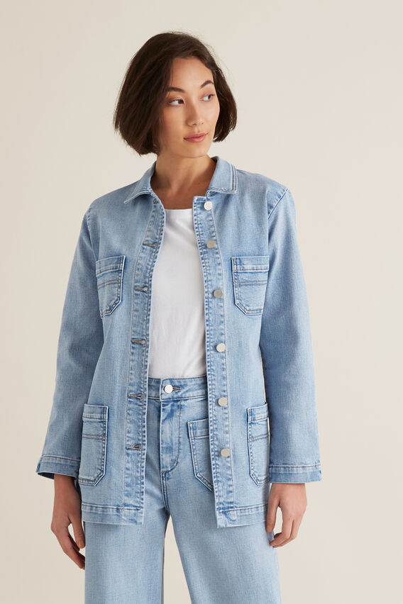 Relaxed Denim Jacket  LIGHT WASH DENIM  hi-res