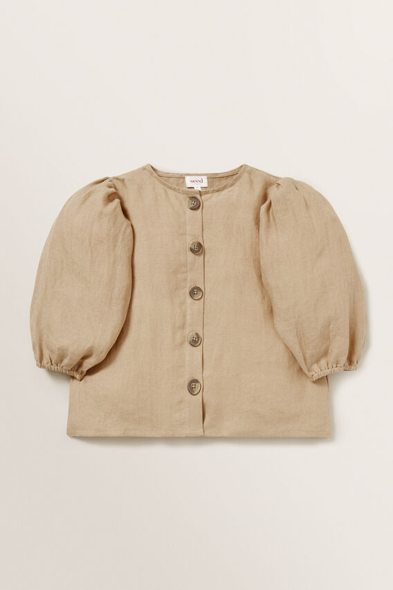 Puff Sleeve Linen Top  WARM TAN  hi-res