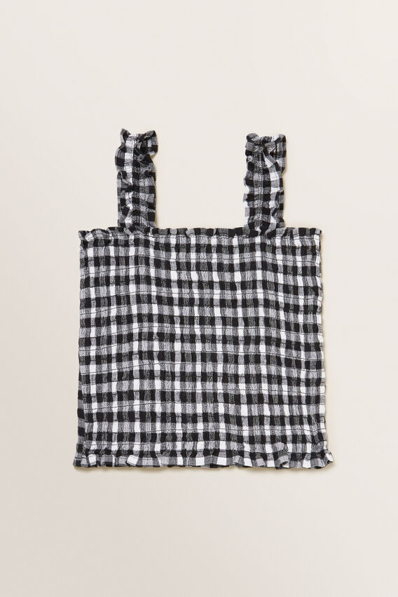 Gingham Top  BLACK  hi-res