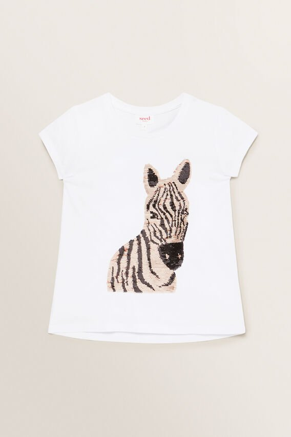 Sequin Zebra Tee  WHITE  hi-res