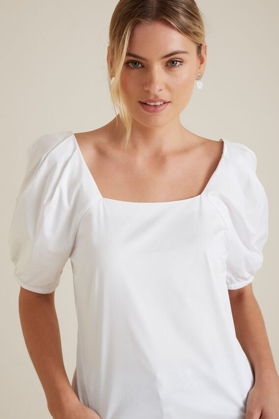 Puff Sleeve Fitted Blouse  WHISPER WHITE  hi-res