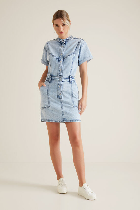 Acid Wash Denim Dress  ACID WASH  hi-res