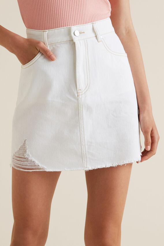 Distress A-Line Denim Skirt  WHITE WASH  hi-res