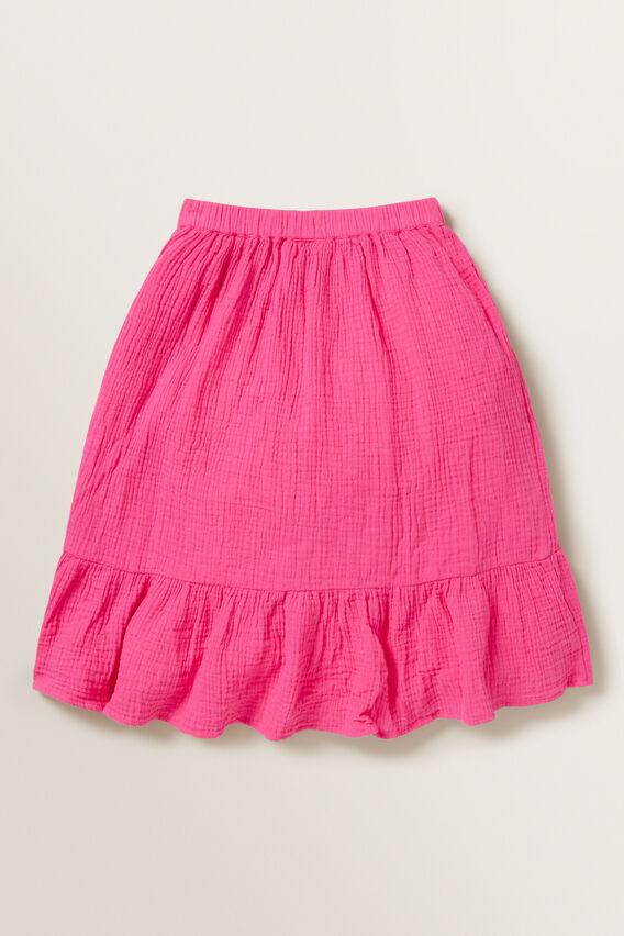 Cheesecloth Wrap Skirt  FUCHSIA  hi-res