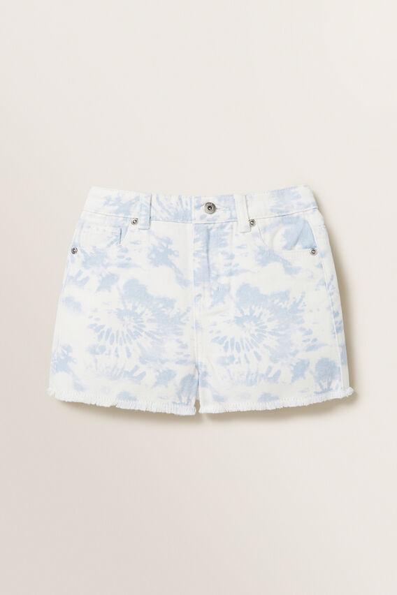 Tie Dye Denim Boyfriend Shorts  PALE BLUE  hi-res