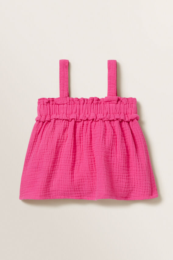 Cheesecloth Frill Top  FUCHSIA  hi-res