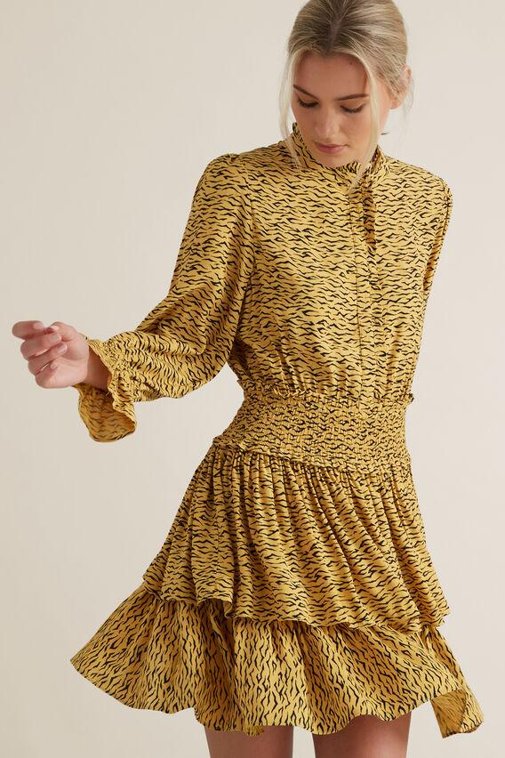 Animal Print Frill Dress  MINI ZEBRA  hi-res