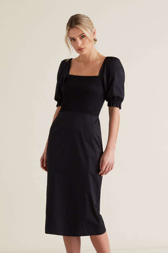 Shirred Balloon Sleeve Dress  BLACK  hi-res