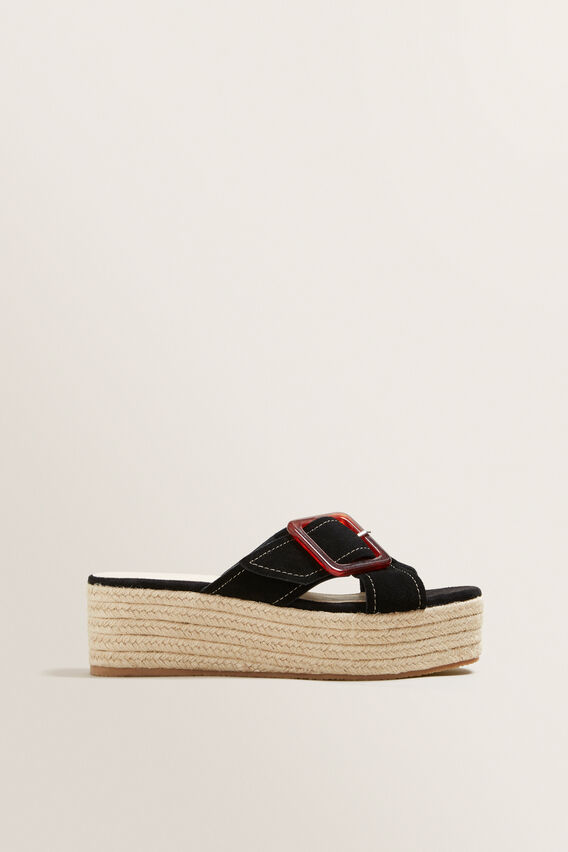 Tara Buckle Flatform  BLACK  hi-res
