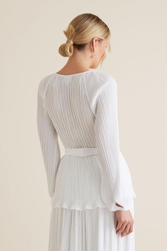Micro Pleat Kimono Top  WHISPER WHITE  hi-res