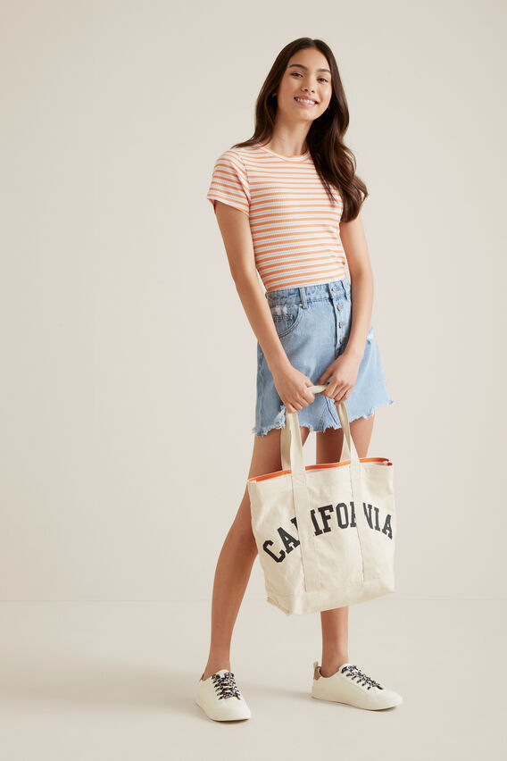 Button Denim Skirt  WASHED CLASSIC  hi-res