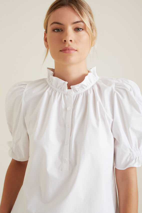 Puff Sleeve Frill Shirt  WHISPER WHITE  hi-res