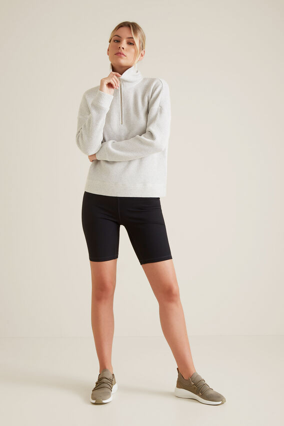 Zip Through Collared Sweater  LIGHT GREY MARLE  hi-res