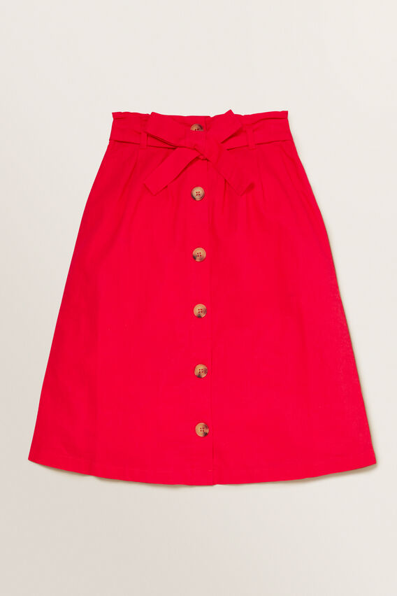 Button Midi Skirt  APPLE RED  hi-res