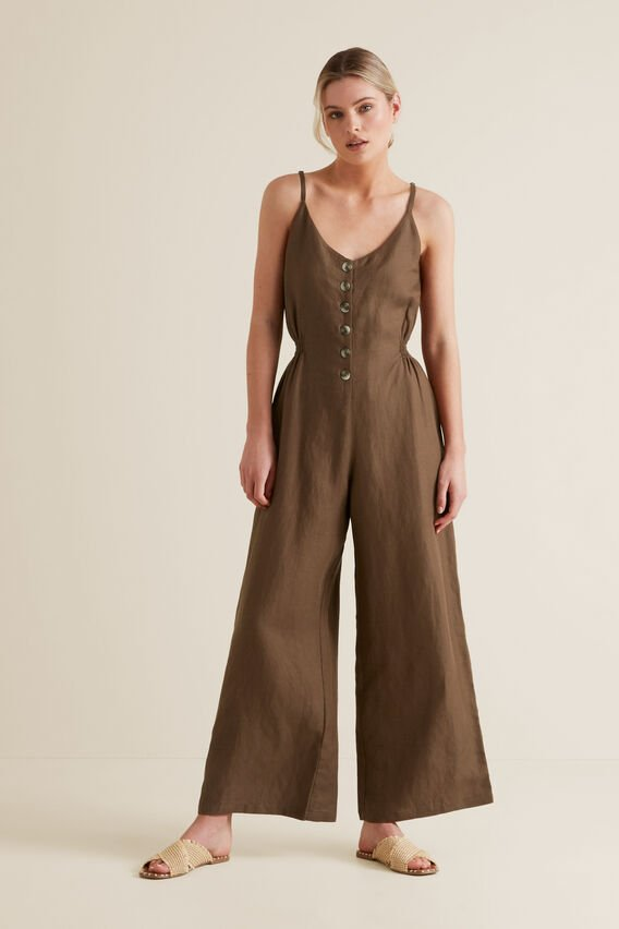 Shirred Waist Jumpsuit  LIGHT CHOCOLATE  hi-res